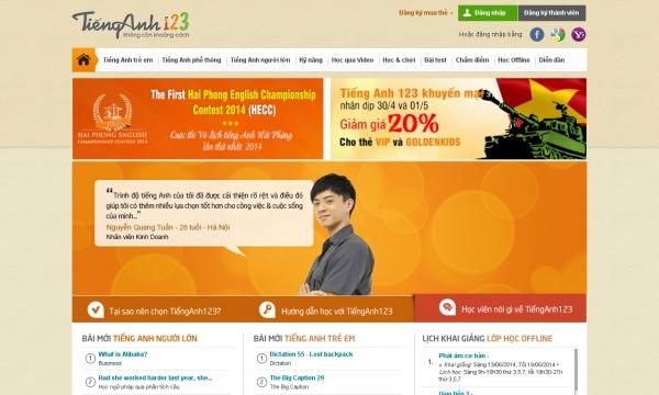 Hiện tại, sau 4 năm hoạt động, Tiếng Anh 123 đã trở thành website học tiếng  Anh trực tuyến hàng đầu tại Việt Nam.